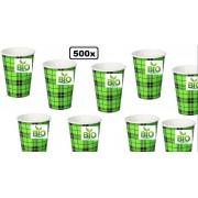 500x BIO Koffie beker Schotse ruit 180ml next generation - schots koffiebeker thee water frisdrank festival kantoor melk suiker