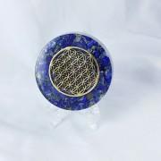 Floarea vietii, Disc terapeutic orgonic cu cristale si pietre semipretioase, metale si rasina, fond lapis lazuli