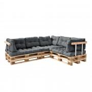 [en.casa]® Sofá de palés - europalés de 5 plazas con cojines - (gris claro) Set completo - incluidos apoyabrazos y respaldos - in/ outdoor