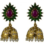 Pourni exclusive Designer Pearl Jhumka Gold finish Earring - PRER129