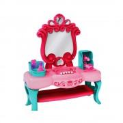 Masuta de machiaj cu oglinda, sunete, lumini si accesorii, 25.5x31x10 cm