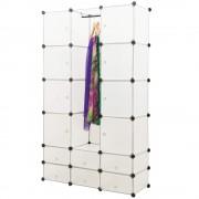 Гардероб с 14 отделения [neu.haus]® 180 x 110 cm Бял, с място за закачалки