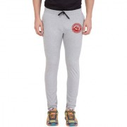 Cliths Light Grey Cotton Zeep Printed Jogger for Men