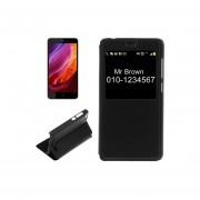 Para Xiaomi Redmi 4a Litchi Texture Flip Horizontal Pu Estuche De Ecocuero Con Pantalla De Llamada Id (negro)