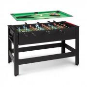 KLARFIT Spin 2-en-1 Mesa de juego billar futbolín intercambiables 180º accesorios de juego negro (FIT4-KF Spin BK)