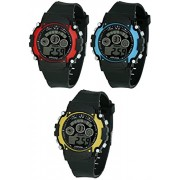 VITREND New Trend Sports Triple Combo Pack of 3 Red, Blue & Yellow Dial Stylish Digital Watches for Boys and Girls …