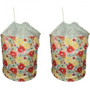 AH Laundry Bag Basket For Cloth Foldable Polycotton with Zip Lid Carry Handle( 43x34 cms ) Set of 2 Pc - Multi Color