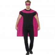Smiffys Roze cape met oogmasker voor volwassenen