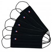 MASQUES DIRECT 5 Masques barrières 3 plis en tissu lavable réutilisable noir - testé 50 lavages