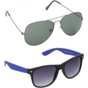 Hrinkar Aviator Sunglasses(Green, Grey)