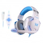 EACH G2200 USB 7.1 Surround Sound Vibration Gaming Headset with Mic LED Light - White / Blue