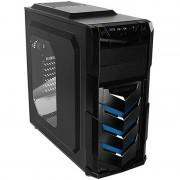 Carcasa Vortex V4, MiddleTower, Fara sursa, Negru/Albastru