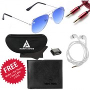 Adam Jones Gradient Blue UV Protected Unisex Aviator Sunglasses with free Wallet + Earphone + Aux Cable + OTG