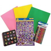 Peace Love Back to School Glitter Binder Sticker Hearts Pencil Supply Bundle - 4 Items: One Heart Sp