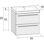Ansamblu mobilier Riho cu lavoar ceramic 60cm gama Belluno, Set 01 Silk