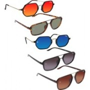 Collet Rectangular, Retro Square Sunglasses(Orange, Green, Blue, Grey, Brown)