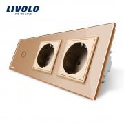 Intrerupator LIVOLO simplu cu touch si 2 prize din sticla, auriu