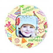 Magnet rotund inserție foto - model Happy Birthday (set 10 buc)