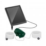 Pompe à air solaire pour bassin - 2 pierres d'oxygénation - 200 l/h - Batterie