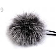 Pomponas / mot blana iepure - 8cm - gri/alb