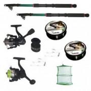 Pachet de pescuit cu 2 lansete 2 4m doua mulinete si accesorii