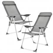Set Relax 2 scaune camping,108 x 58 cm, metal/textil, cu cotiere, gri inchis