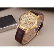 Round Dial Brown Synthetic Strap Automatic Watch For Men