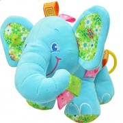 Baby Grow Baby Toys Music Pull Rattles Multifunctional Elephant Kids Bell Ring Paper Car Bed Hanging Strollers Toys (Blue Elephant -1)