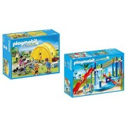 Playmobil Summer Fun Playset Bundle with Water Park Play Area Playset and Family Camping Trip Playset