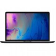 "Лаптоп Apple MacBook Pro 15(MR932ZE/A)(сив), шестядрен Coffee Lake Intel Core i7-8750H 2.2/4.1GHz, 15.4"" (39.11 cm) WQXGA Retina дисплей & Radeon Pro 555X 4GB(USB C), 16GB, 256GB SSD, сензорен бар, MacOS High Sierra, 1.83kg"