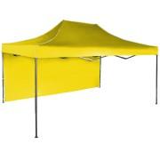 Gyorsan összecsukható sátor 3x4,5 m – acél, Sárga, 1 oldalfal