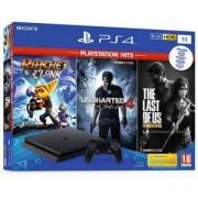 Конзола Sony PlayStation 4 Slim 1TB Черна + Игра The last of US + Игра Uncharted 4 + Игра Ratchet Clank