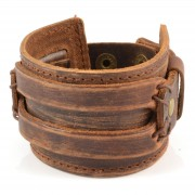 Collin Rowe Bracelet en cuir brut marron