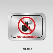 Stainless Steel No Smoking Signboard for Office Hospital School College Self Adhesive Waterproof Signboard