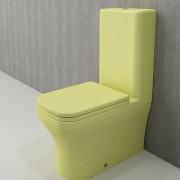 Toiletpot Set Staand Letta 65x36,5x90cm Keramiek Diepspoel Nano Coating EasyClean Rimfree Mat Limon met Toiletbril
