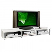 IDIMEX Meuble TV KIMI, 3 niches, blanc