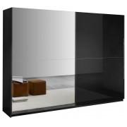 IB Living Schuifdeurkast Kenzo 148 cm breed - Hoogglans zwart met spiegel