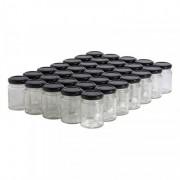 Lubéron Apiculture 35 pots verre droits 125g (106 ml) avec couvercle TO 48 - Couvercle - Noir