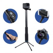 Anti-skid Extendable Self-portrait Handheld Telescopic Monopod Holder Set with Phone Remote Controller & Tripod & Phone Holder for Smartphones GoPro & Xiaoyi Camera Full Length Max: about 1m(Blue)