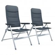 vidaXL Регулируеми градински столове, 2 бр, алуминий, сиви