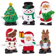 Night Lions Tech(TM)Wind Up Toys-6 pcs/lot Christmas Santa Claus Snowman Wind Up Walking Toy Christmas Gift for Toddlers