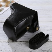 Full Body Camara Caja De Cuero De La PU Bolsa Con Correa Para Panasonic Lumix DMC - Fotografia Accesorios (negro)