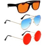Elligator Aviator, Wayfarer, Round Sunglasses(Orange, Blue, Red)