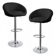 [en.casa]® Bárszék Szeged 2 darab kárpitozott műbőr kerek konyhai szék forgatható állítható magasság fekete