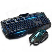 V-100 USB 2.0 con cable teclado de juego retroiluminado de 114 teclas + kit de mouse - negro