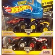 Hot Wheels Monster Jam Demolition Doubles Spider-man Vs Captain America & Iron Man Vs Wolverine 1:64 Scale