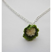 Miniature Green Cauliflower Vegetable Necklace