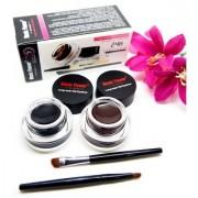 Music Flower Gel Eyeliner 6 g (Black -01 Brown- 01) with 2 eyeliner brush