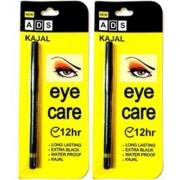 Ads Eye Care Kajal Long Lasting Extra Black Water Proof Kajal 12 Hr (Set Of 2)