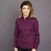 Női fekete bordó ing Willsoor finom mintázatú virágos / növényes 7687